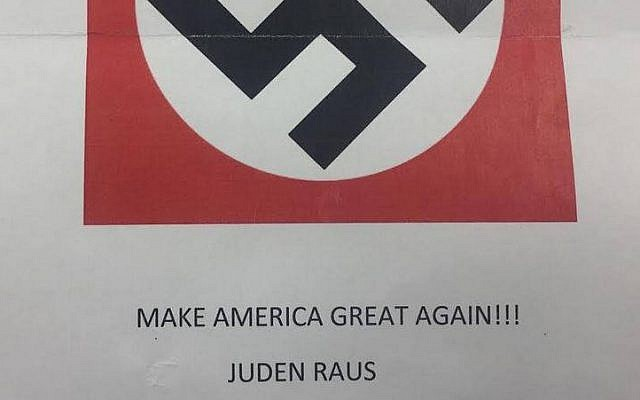 An anti-Semitic flier threatening Jews that was sent to a kosher bakery in Brooklyn. (Courtesy: Dov Hikind)