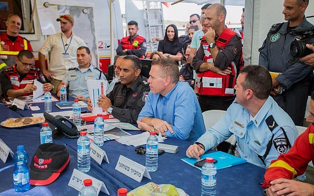 Public Security Minister Gilad Erdan takes part in a situational assessment meeting during an international natural disaster preparedness exercise in central Israel on October 24, 2017. (Fire and Rescue Authority)