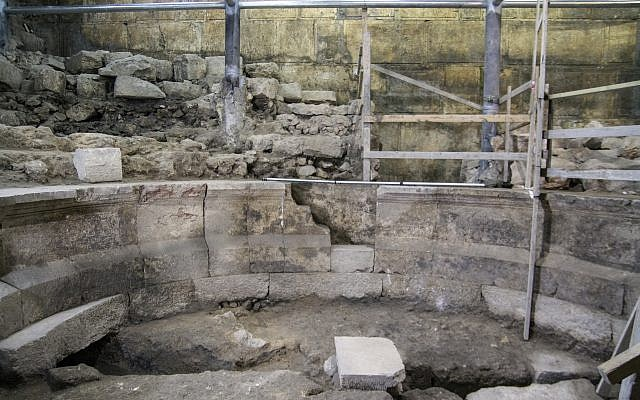 The theater-like structure in the Western Wall tunnel. (Yaniv Berman, courtesy of the Israel Antiquities Authority)