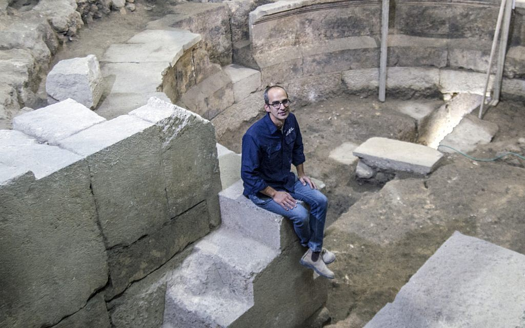 Israel Antiquities Authority excavation director Dr. Joe Uziel at the excavation site in Jerusalem's Old City. (Yaniv Berman, courtesy of the Israel Antiquities Authority)