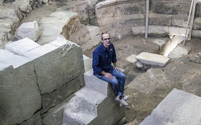 Israel Antiquities Authority excavation director Dr. Joe Uziel at the excavation site in Jerusalem's Old City. (Yaniv Berman, courtesy of the Israel Antiquities Authority)