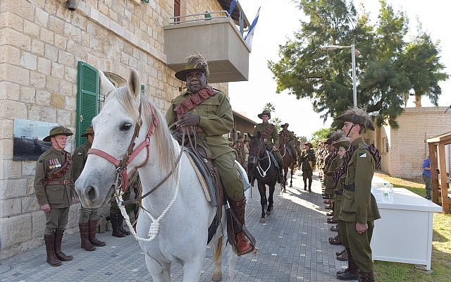 Members of a 10-horse cavalry procession that took place as part of the October 23, 2017 ceremony commemorating the battle for the Tzemach train station in northern Israel.  (Michael Huri/KKL-JNF Photo Archive)