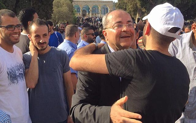 Joint List MK Ahmad Tibi visits the Temple Mount in Jerusalem's Old City on July 27, 2017.  (Ahmed Tibi's office)