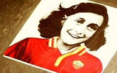 Stickers of Anne Frank dressed in the uniform of the Roma soccer team were placed in the stadium by rival Lazio fans in Italy (Screenshot/Youtube)