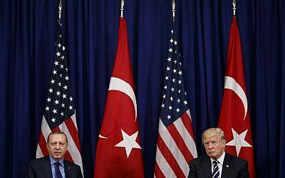 US President Donald Trump (right) meets with Turkish President Recep Tayyip Erdogan at the Palace Hotel during the United Nations General Assembly, September 21, 2017, in New York. (AP Photo/Evan Vucci)
