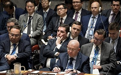 Russian Ambassador to the United Nations Vassily Nebenzia, center, listens during a  Security Council meeting on non-proliferation of weapons of mass destruction during the UN General Assembly, September 21, 2017, at UN headquarters. (AP/Craig Ruttle)