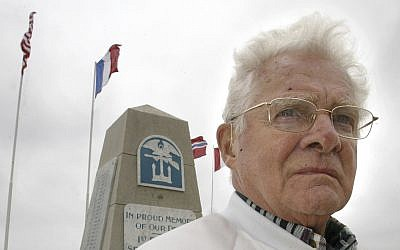 "In this June 6, 2005, photo Don Malarkey, American veteran from the 101st airborne ""Easy"" Company,"" attends ceremonies to commemorate the Allied D-Day landings of World War II, on Utah Beach, northwestern France. (AP Photo/Franck Prevel)"