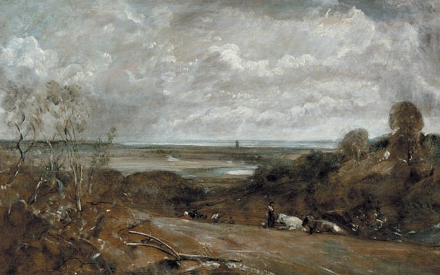 """A handout image of the John Constable painting """"Dedham from Langham,"""" which was seized from the art collection of a Jewish woman by France's pro-Nazi regime in World War II.  (Pierre Bohrer/Musee des beaux-arts, La Chaux-de-Fonds via AP)"""