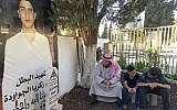 In this Wednesday, Sept. 27, 2017 photo, Zakariya al-Jawawdeh accompanied by two of his sons, 14-year-old Lukman, right, and 10-year-old Omar, visits the grave of his 16-year-old son Mohammed who was killed, along with a Jordanian man, by an Israeli embassy security guard in the Jordanian capital in July 23. (AP Photo/Karin Laub)
