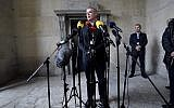 Chief Police investigator Jens Moeller makes a comment concerning the latest findings in connection with the Kim Wall murder case during a press conference at police headquarters in Copenhagen, Denmark, Saturday, Oct. 7, 2017. (Tariq Mikkel Khan/Ritzau via AP)