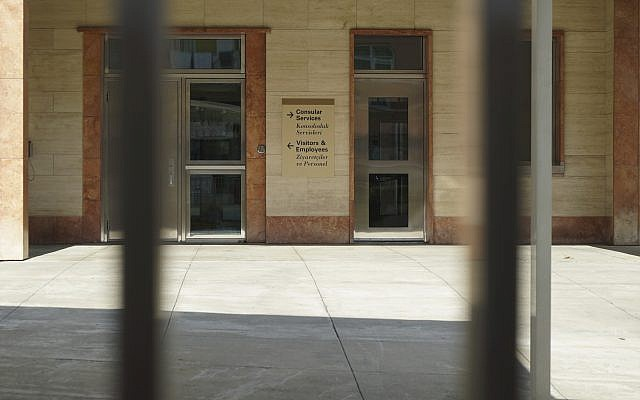 The consular services' office of the United States consulate remains closed, in Istanbul, October 9, 2017. (AP Photo/Neyran Elden)
