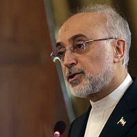 Head of Iran's Atomic Energy Organization Ali Akbar Salehi talks at a conference on international cooperation for enhancing nuclear safety, security, safeguards and non-profileration, at the Lincei Academy, in Rome, October 10, 2017. (AP/Gregorio Borgia)
