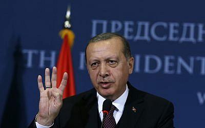 Turkey's President Recep Tayyip Erdogan speaks to the media  in Belgrade, Serbia,  October 10, 2017. Erdogan is on a two-day official visit to Serbia. (AP Photo/Darko Vojinovic)