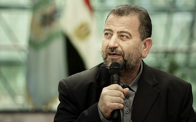 Hamas representative Saleh al-Arouri, after signing a reconciliation deal with senior Fatah official Azzam al-Ahmad, during a short ceremony at the Egyptian intelligence complex in Cairo, Egypt, October 12, 2017. (AP/Nariman El-Mofty)