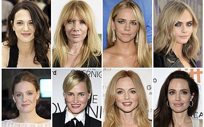 This combination photo shows some of the actresses listed in alphabetical order, top row from left,  Asia Argento, Rosanna Arquette, Jessica Barth, Cara Delevingne, Romola Garai, Judith Godreche, Heather Graham, Angelina Jolie who have made allegations against producer Harvey Weinstein. (AP Photo/File)