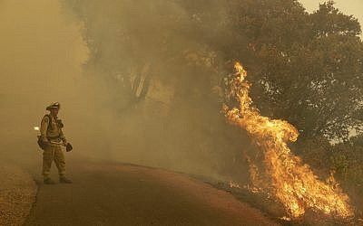 A firefighter monitors flames from a blackburn operation Friday, October 13, 2017, in Glen Ellen, Calif. (AP/Marcio Jose Sanchez)