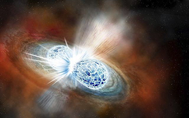 An illustration depicting the collision of two neutron stars detected on August 17, 2017. (Robin Dienel/Carnegie Institution for Science via AP)