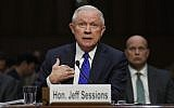 US Attorney General Jeff Sessions testifies before the Senate Judiciary Committee on Capitol Hill in Washington, October 18, 2017. (AP Photo/Carolyn Kaster)