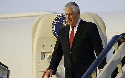 US Secretary of State Rex Tillerson steps off his plane as he arrives at King Salman Air Base, October 21, 2017, in Riyadh, Saudi Arabia. (AP Photo/Alex Brandon, Pool)
