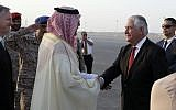 US Secretary of State Rex Tillerson is greeted as he arrives at King Salman Air Base, Saturday, Oct. 21, 2017, in Riyadh, Saudi Arabia. (AP Photo/Alex Brandon, Pool)