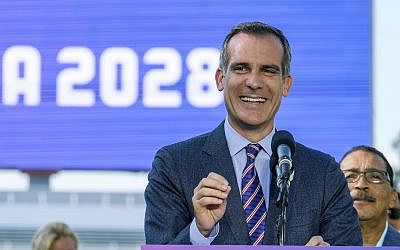 Los Angeles Mayor Eric Garcetti speaks during a press conference at Stubhub Center in Carson, outside of Los Angeles, California, July 31, 2017. (AP Photo/Ringo H.W. Chiu, File)