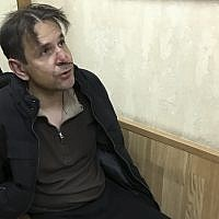 A man Russian authorities identified as Boris Grits, who reportedly stabbed journalist Tatyana Felgenhauer, was detained in the Ekho Moskvy radio station office in Moscow, Russia, on October 23 2017. (Vitaly Ruvinsky, Ekho Moskvy photo via AP)