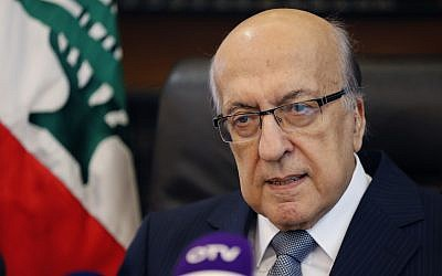Joseph Torbey, the head of Association of Banks in Lebanon, speaks during a press conference, in Beirut, Lebanon, Monday, Oct. 23, 2017. (AP Photo/Hussein Malla)