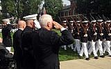Vice President Mike Pence salutes during a ceremony honoring 241 U.S Service members killed 34 years ago in the 1983 bombing of the Marine Barracks in Beirut, Lebanon, October. 23, 2017 at the Marine Barracks in Washington. (AP/Ken Thomas)