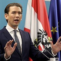 Foreign Minister Sebastian Kurz and during a news conference in Vienna, Austria, the leader of the Austrian Peoples Party, OEVP, October 24, 2017. (AP Photo/Ronald Zak)