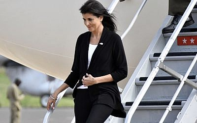 US Ambassador to the United Nations Nikki Haley arrives in Juba, South Sudan, Wednesday, October 25, 2017. (AP Photo)