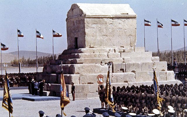 In this file photo from Oct. 12, 1971, honor guards line up during ceremonies to mark the 2,500 anniversary of the founding of the Persian Empire at the Tomb of Cyrus the Great, at Pasargad, Iran. (AP Photo, File)