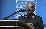 "The head of Iran's paramilitary Revolutionary Guard Gen. Mohammad Ali Jafari speaks in a conference called ""A World Without Terror,"" in Tehran, Iran, October 31, 2017. (AP Photo/Vahid Salemi)"