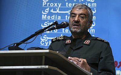 "The head of the Iranian Revolutionary Guards Corps Gen. Mohammad Ali Jafari speaks in a conference called ""A World Without Terror,"" in Tehran, Iran, on October 31, 2017. (AP Photo/Vahid Salemi)"