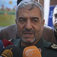 """The head of Iran's paramilitary Revolutionary Guard General Mohammad Ali Jafari speaks to journalists after his speech at a conference called """"A World Without Terror,"""" in Tehran, Iran, October 31, 2017. (AP Photo/Vahid Salemi)"""