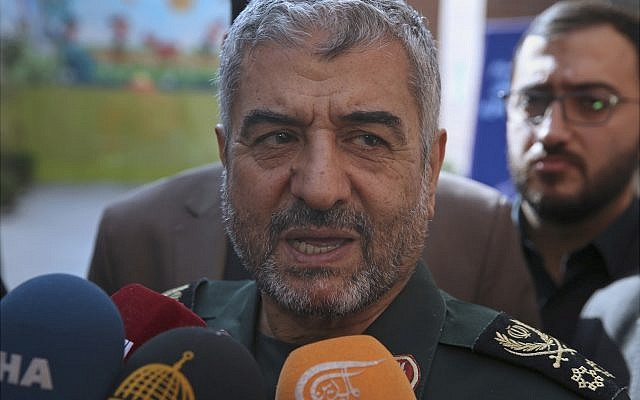 "The head of Iran's paramilitary Revolutionary Guard General Mohammad Ali Jafari speaks to journalists after his speech at a conference called ""A World Without Terror,"" in Tehran, Iran, October 31, 2017. (AP Photo/Vahid Salemi)"