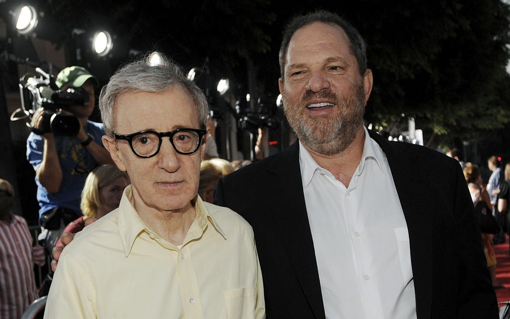 Woody Allen (L) poses with Harvey Weinstein, co-chairman of The Weinstein Company, August 4, 2008. (AP Photo/Chris Pizzello)