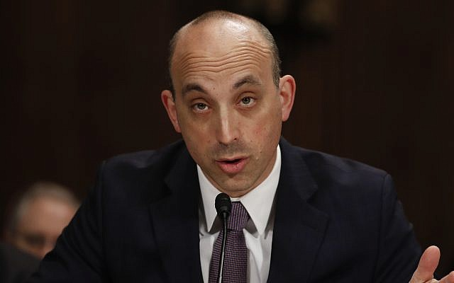 Jonathan Greenblatt, CEO And National Director of the Anti-Defamation League testifies on Capitol Hill in Washington, Tuesday, May 2, 2017, before a Senate Judiciary Committee hearing on responses to the increase in religious hate crimes. (AP Photo/Carolyn Kaster)