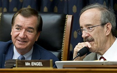 House Foreign Affairs Committee Chairman Rep. Ed Royce, R-Calif., left, speaks with the committee's ranking member Rep. Eliot Engel, D-N.Y. during a hearing on Iran before the House Foreign Affairs Committee, Wednesday, Oct. 11, 2017 on Capitol Hill in Washington. (AP Photo/Jose Luis Magana)