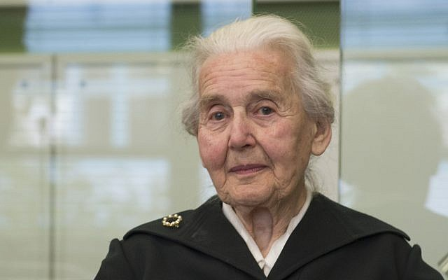 Ursula Haverbeck arrives in the Tiergarten District Court in Berlin, Germany, October 16, 2017. (Paul Zinken/dpa via AP)