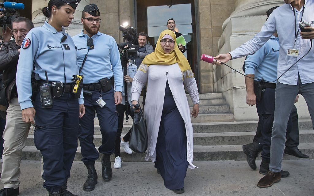 Zoulika Aziri the mother of the Merah brothers leaves the courthouse in Paris, France, Wednesday, October 18, 2017. (AP Photo/Michel Euler)
