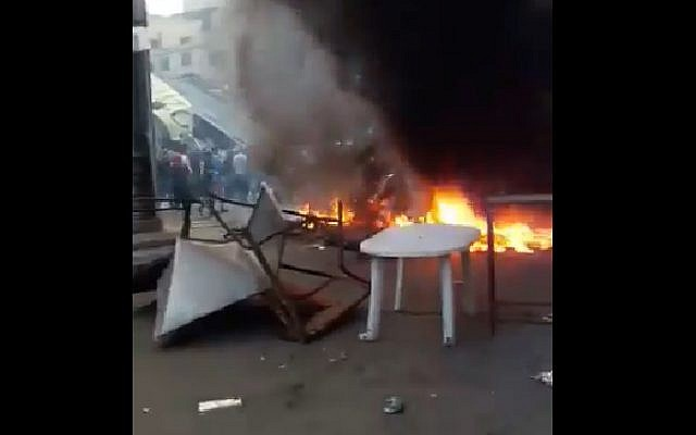 Still from video of unrest in Beirut after crackdown on illegal street vendors on October 25, 2017. (Screen capture: Twitter)
