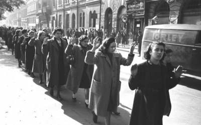 Hungarian Jews were marched down Wesselenyi Street in the heart of Budapest's Jewish Quarter, on their way to be deported to Auschwitz. (Bundesarchiv Bild)