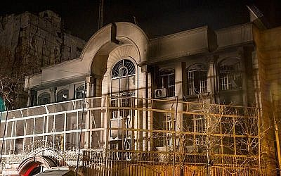 Embassy of the Kingdom of Saudi Arabia in Tehran destroyed by protesters, January, 2016. (CC BY Tasnim News Agency, Wikimedia commons)