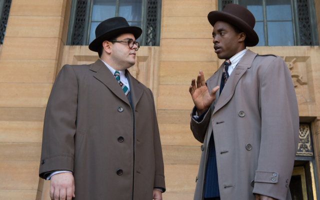 Josh Gad, left, and Chadwick Boseman in a scene from 'Marshall.' (Barry Wetcher/via JTA)