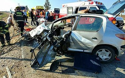 The scene of a head-on-collision on Route 383 on October 11, 2017. (United Hatzalah)