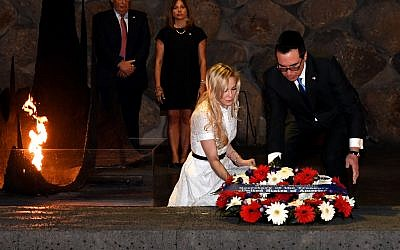 US Treasury Secretary Steven Mnuchin, accompanied by his wife, Ms. Louise Linton, lay a wreath in the Hall of Remembrance at the Yad Vashem Holocaust museum in  Jerusalem, October 26, 2017. (Matty Stern/U.S. Embassy Tel Aviv)