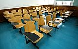 Illustrative image of an empty college lecture room. (Moshe Shai/Flash90)