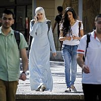 Illustrative: Arab Israeli students at the campus of Givat Ram at Hebrew University, on the first day of the new academic year, October 26, 2014. (Miriam Alster/Flash90)