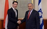 Prime Minister Benjamin Netanyahu meets with Austrian then-foreign minister Sebastian Kurz in Jerusalem, on May 16, 2016. (Kobi Gideon/GPO)