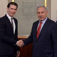 Prime Minister Benjamin Netanyahu meets with Austria's then-foreign minister Sebastian Kurz in Jerusalem, on May 16, 2016. (Kobi Gideon/GPO)